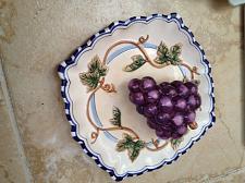 Buy 3 dimensional decorative ceramic plate of grapes bella casa by ganz