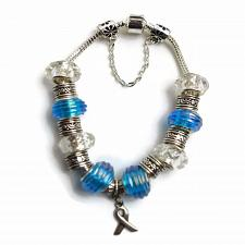 Buy European Silver Charm Bracelet Ribbon With Blue and Clear Murano Beads
