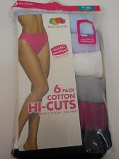 Buy Panties 6 Pack Women Cotton Hi Cut Solid Assorted PLUS SIZE 9/2X FRUIT OF THE LO