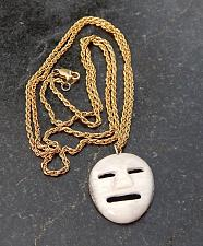"Buy Vintage Inuit bone PENDANT mask with 20"" gold-plated chain, 1"""