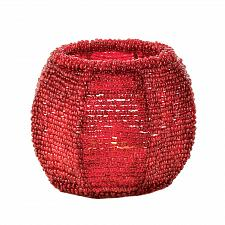 Buy *17327U - Cherry Red Beaded Frame Glass Votive Candle Holder