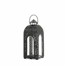 "Buy *17083U - Arched 14.5"" Small Black Iron Medallion Lantern Pillar Candle Holder"