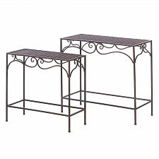 Buy *16155U - Brown Wicker Top Nesting Oblong Iron Frame Tables