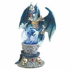 Buy 39824U - Color Change LED Ball Blue Armored Dragon Polyresin Figurine