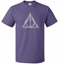 Buy Deathly Hollows Unisex T-Shirt Pop Culture Graphic Tee (2XL/Purple) Humor Funny Nerdy