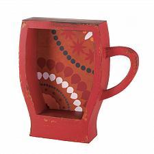 Buy *17110U - Red Coffee Cup Fir Wood Shelf