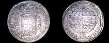 Buy 1815-B Brazilian 960 Reis World Silver Coin Overstruck on Host - Brazil