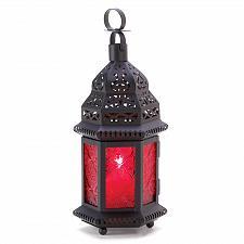 Buy 13245U - Red Pressed Glass Moroccan Style Cutwork Metal Candle Lantern