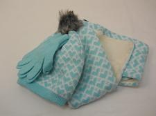 Buy Girls 3 PC Knit Set Scarf Hat Gloves Spearmint Heart Print One Size Shearling