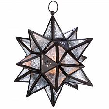 Buy D1133U - Moroccan Style Pressed Glass Hanging Star Candle Lantern
