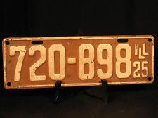 Buy 1925 Illinois License Plate 720 898 Red White Original Long Tag