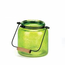 Buy *16683U - Green Glass Jar Candle Holder Lantern w/Handle