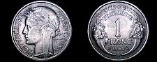 Buy 1959 French 1 Franc World Coin - France