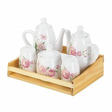 Buy *17882U - Dolomite Pink Peony Floral S&P Creamer Sugar Tea Table Set