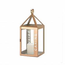 """Buy *18524U - Rose Gold Metal Frame CARING Stencil Cut 13.8"""" Pillar Candle Lantern"""