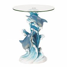 Buy 38425U - Playful Dolphin Figures Round Glass Top Accent Table
