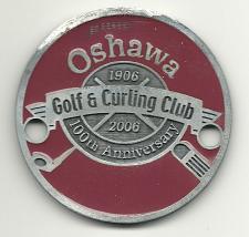 Buy Golf Bag Tag Oshawa Golf and Curling Club Ontario Canada Fob 100th Ann VTG