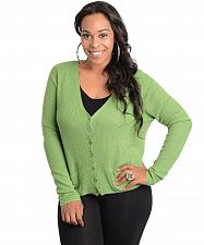 Buy Cardigan Long Sleeve Button Front V-Neck Solid Green Womens Size 1XL-2XL 2XL-3XL