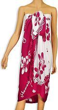Buy Rayon Beach Sarong - White/Pink Plumeria #KMI-7004P w/ Coconut Tie Accessory