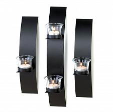 Buy *15844U - Contemporary Black Metal Tea Light Wall Sconces Set Of 3