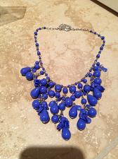 Buy beach blue colored beaded necklace