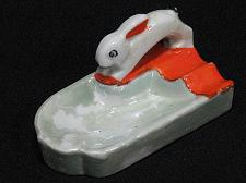 Buy Porcelain Rabbit Figural Ashtray Snuffer Japan Bunny Vintage
