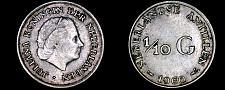 Buy 1960 Netherlands Antilles One Tenth 1/10 Gulden World Silver Coin