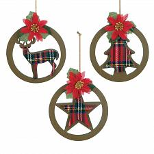 Buy *18105U - Round Cutout Plaid Silhouette Poinsettia Tree Ornament 3pc Set