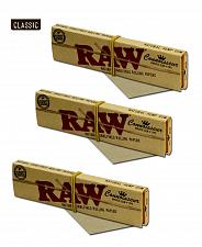 Buy 3X Packs of RAW King Size Slim CONNOISSEUR papers with TIPS Unbleached Natural