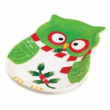 "Buy *16064U - Holiday Hoot Owl 9"" Colorful Green Ceramic Serving Plate"