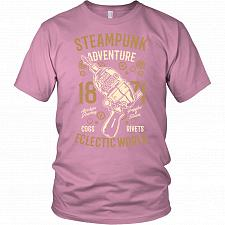 Buy Steampunk Adventure Adult Unisex T-Shirt Pop Culture Graphic Tee (Pink/District Unise