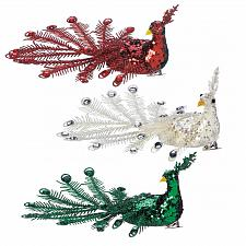 Buy *18107U - Red Green Clear Rhinestone Peacock Tree Ornament 3pc Set