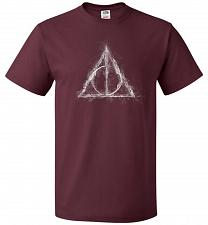 Buy Deathly Hollows Unisex T-Shirt Pop Culture Graphic Tee (4XL/Maroon) Humor Funny Nerdy