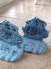 """Buy turquoise colored brass sailboat bookends approximately 6"""" distressed motif"""