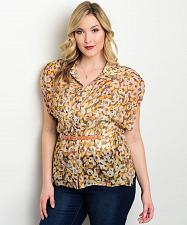 Buy Button Shirt Womens PLUS SIZE 3XL Floral Sheer Kimono Sleeves Belt Front Pockets