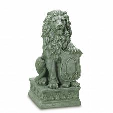Buy 38624U - Stately Lion Shield Guardian Fiber Resin Figurine Statue Yard Art