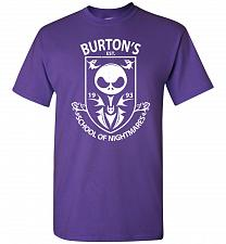 Buy Burton's School Of Nightmares Unisex T-Shirt Pop Culture Graphic Tee (S/Purple) Humor