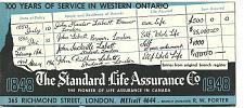 Buy Vintage Ink Blotter Standard Life Assurance Insurance London Ontario Canada