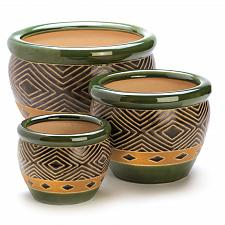 Buy 13367U - Jade Green Pattern Ceramic Planter Plant Pot Trio 7, 9, 12 Inch