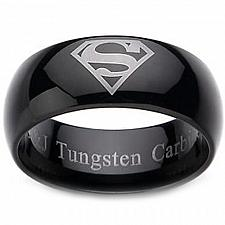 Buy coi Jewelry Black Tungsten Carbide Superman Wedding Band Ring