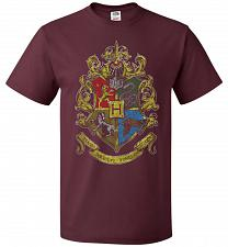 Buy Hogwart's Crest Adult Unisex T-Shirt Pop Culture Graphic Tee (S/Maroon) Humor Funny N