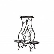 Buy *15848U - Hourglass Black Iron Triple Plant Stand Pot Holder