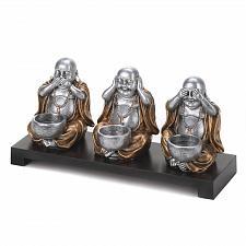 Buy *16193U - Hear Speak See No Evil Buddha Tea Light Candle Holder Set