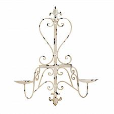 Buy *17974U - Antiqued Fleur De Lis 2 Arm Pillar Candle Pedestal Wall Sconce