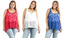 Buy Ambiance Apparel Women Sheer Top Plus Size Solid Colors Lace Front Sleeveless
