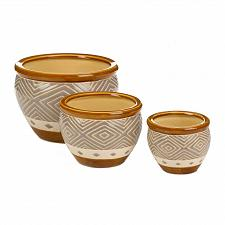Buy *18507U - Earth-Tone Diamond Pattern Brown Trim Ceramic Planter Trio