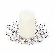"Buy *18135U - Crystal Flower 6 1/2"" Round Silver Iron Pillar Candleholder"