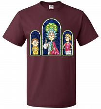 Buy Rick And Morty Stain Glass Unisex T-Shirt Pop Culture Graphic Tee (6XL/Maroon) Humor