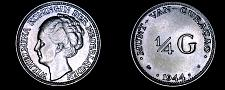 Buy 1944-D Curacao 1/4 Gulden World Silver Coin - Wilhelmina I