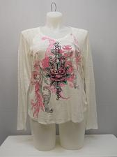 Buy Womens Knit Top PLUS SIZE 1X SELF ESTEEM Ivory V Neck Decal Long Sleeve Pullover